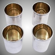 Large Shot Cups Set Gilt Interior Beaded Rim Russian 84 Standard Silver 1895