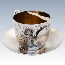 Engraved Floral Moustache Cup Saucer Set Pairpoint Mfg Co Silverplate 1880
