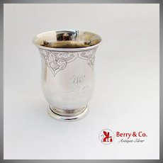 Aesthetic Engraved Large Beaker Beaded Rim Schulz Fischer Coin Silver