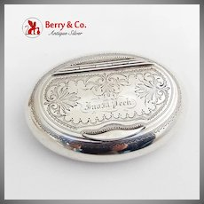 Oval Engraved Snuff Box Gilt Interior Hinged Lid Kohler Ritter Coin Silver 1867