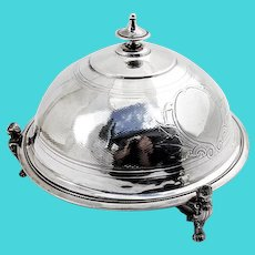 Engraved Foliate Covered Butter Dish Figural Feet Vanderslice Co Coin Silver