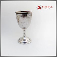 Matte Finish Engraved Goblet Gilt Interior Vanderslice Co Coin Silver