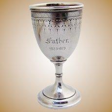 Matte Finish Engraved Goblet Gilt Interior Vanderslice Co Coin Silver