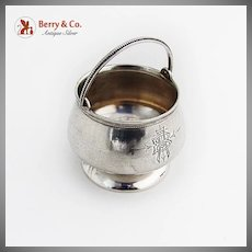 Pot Form Open Salt Bail Handled Beaded Rim Vanderslice Co Coin Silver Mono