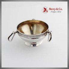 Greek Key Rim Open Salt Gilt Interior Stirrup Handles Vanderslice Co Coin Silver