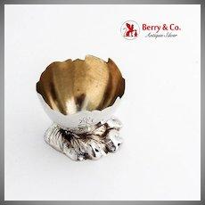 Eggshell Form Open Salt Gilt Interior Vanderslice Co Coin Silver Mono