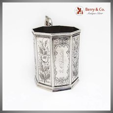 Floral Engraved Octagonal Childs Cup Joseph Brothers Co Coin Silver 1852
