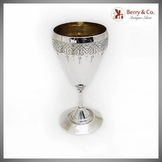 Engraved Goblet Gilt Interior Vanderslice Co Coin Silver 1863 San Francisco