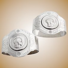 Medallion Napkin Rings Pair Engraved Patterns Coin Silver 1860