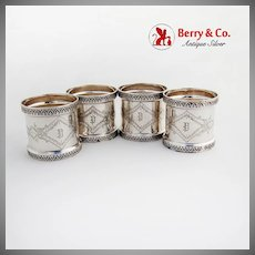 Aesthetic Engraved Napkin Ring Gothic Embossed Rims Coin Silver Mono