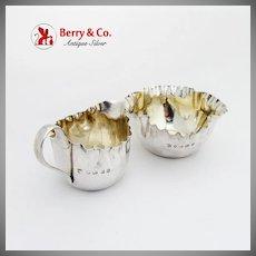 English Creamer Sugar Bowl Set Pie Crust Rim Sterling Silver 1886 Birmingham