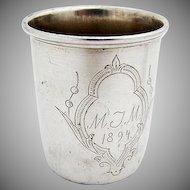 Vintage Engraved Shot Cup Danish 830 Standard Silver 1894 Mono