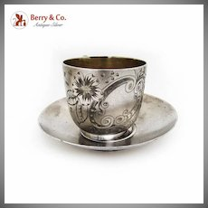 Floral Engraved Cup Saucer Set Gold Plated Interior Silverplate 1880