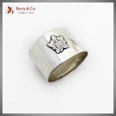 WWI Military Napkin Ring Applied Canada Crest Sterling Silver 1915 Sheffield