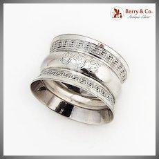 Greek Key Rim Napkin Ring Sterling Silver 1901 Birmingham Monogram