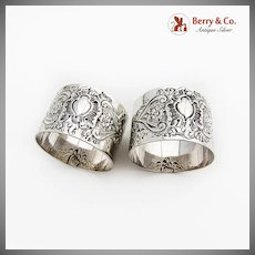 English Repousse Floral Scroll Napkin Rings Pair Sterling Silver 1895 London