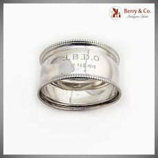 English Beaded Napkin Ring Sterling Silver 1918 Birmingham Monogram