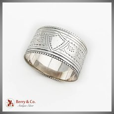 English Chased Engraved Napkin Ring Sterling Silver 1891 Sheffield No Mono