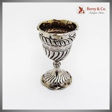 Repousse Fluted Egg Cup Gilt Interior George Unite Sterling Silver 1889