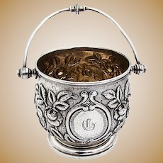 Repousse Floral Sugar Basket Swing Handle Gilt Interior Coin Silver 1875