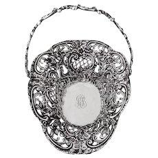 Baroque Floral Scroll Openwork Basket Swing Handle Sterling Silver 1900
