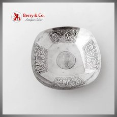 One Rupee 1919 Silver Coin Inset Bowl Scroll Decorations Sterling Silver