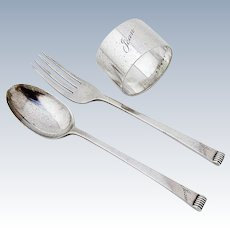 Onslow Youth Flatware Napkin Ring Set Cooper Bros Sterling Silver 1936 Sheffield