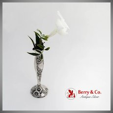 Art Nouveau Repousse Floral Bud Vase Sterling Silver 1900 Monogram