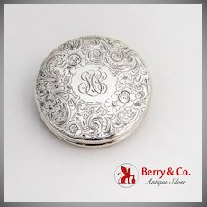 Engraved Floral Scroll Collapsible Travel Cup Sterling Silver 1900 Monogram