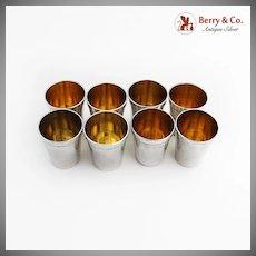 Vintage Shot Cups Set Gilt Interior Occupied Japan 950 Sterling Silver