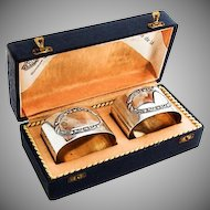 Edwardian Oval Napkin Rings Pair Gilt Interior German 800 Silver 1920 Boxed