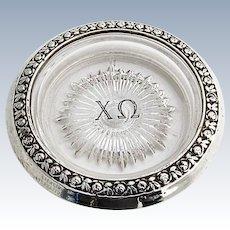 Chi Omega Fraternity Pressed Glass Coaster Floral Rim International Sterling Silver