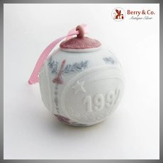 Lladro Porcelain Christmas Ball Ornament 1992 Hand Made Spain