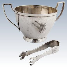 Arts And Crafts Sugar Bowl Tongs Set Marshall Fields Sterling Silver 1915