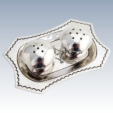 Old Pawn Navajo Silver Plated Shakers Sterling Tray Set 1950