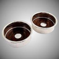 Exotic Hardwood Sterling Silver Wine Coasters Boxed Set 1977 Birmingham