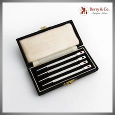 English Bridge Canasta Pencils Boxed Set Enamel Card Suits Sterling Silver