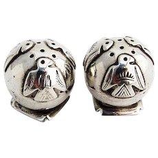 Native American Thunderbird Ball Form Salt Pepper Shakers Pair Sterling Silver