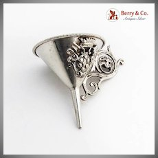 Small Ornate Funnel Applied Crest Scroll Handle 800 Standard Silver