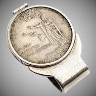 Vintage Silver Coin Inset Money Clip Sterling Silver