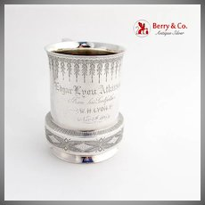 Engraved Ornate Childs Cup Mug Vanderslice Co Coin Silver San Francisco