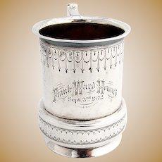Antique Engraved Childs Cup Mug Vanderslice Co Coin Silver San Francisco
