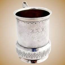Antique Childs Cup Mug Engraved Pattern Vanderslice Co Coin Silver Monogram