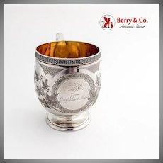Engraved Foliate Childs Cup Mug Gilt Interior Schulz Fischer Coin Silver 1875