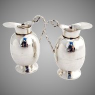 Pitcher Form Salt Pepper Shakers Pair Sterling Silver Mexico