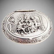 Happy Village People Snuff Pill Box Gerardus Schoorl Dutch 833 Silver 1900