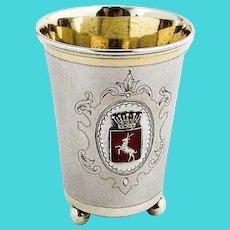 Swedish Beaker Stag Crowned Red Enamel Crest 1907 830 Standard Silver