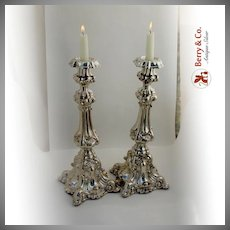 Baroque Candlesticks 1800 Northern European 11 Loth Silver