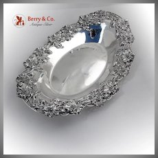 Poppy Bread Tray Redlich Sterling Silver 1900 Applied Decorations Open Work