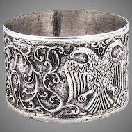 Antique Ornate Napkin Ring Double Eagle Design 800 Silver 1900 Mono B